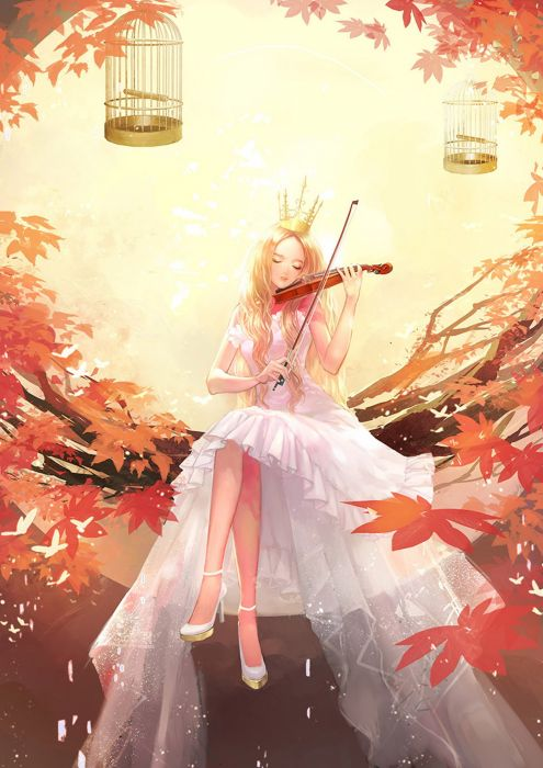 Fall Wallpaper Drawing Original Anime Girl Violin Music Tree Autumn Dress Long