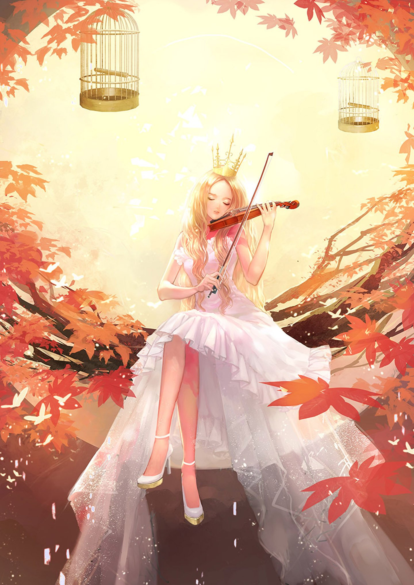 Free Animated Falling Leaves Wallpaper Original Anime Girl Violin Music Tree Autumn Dress Long