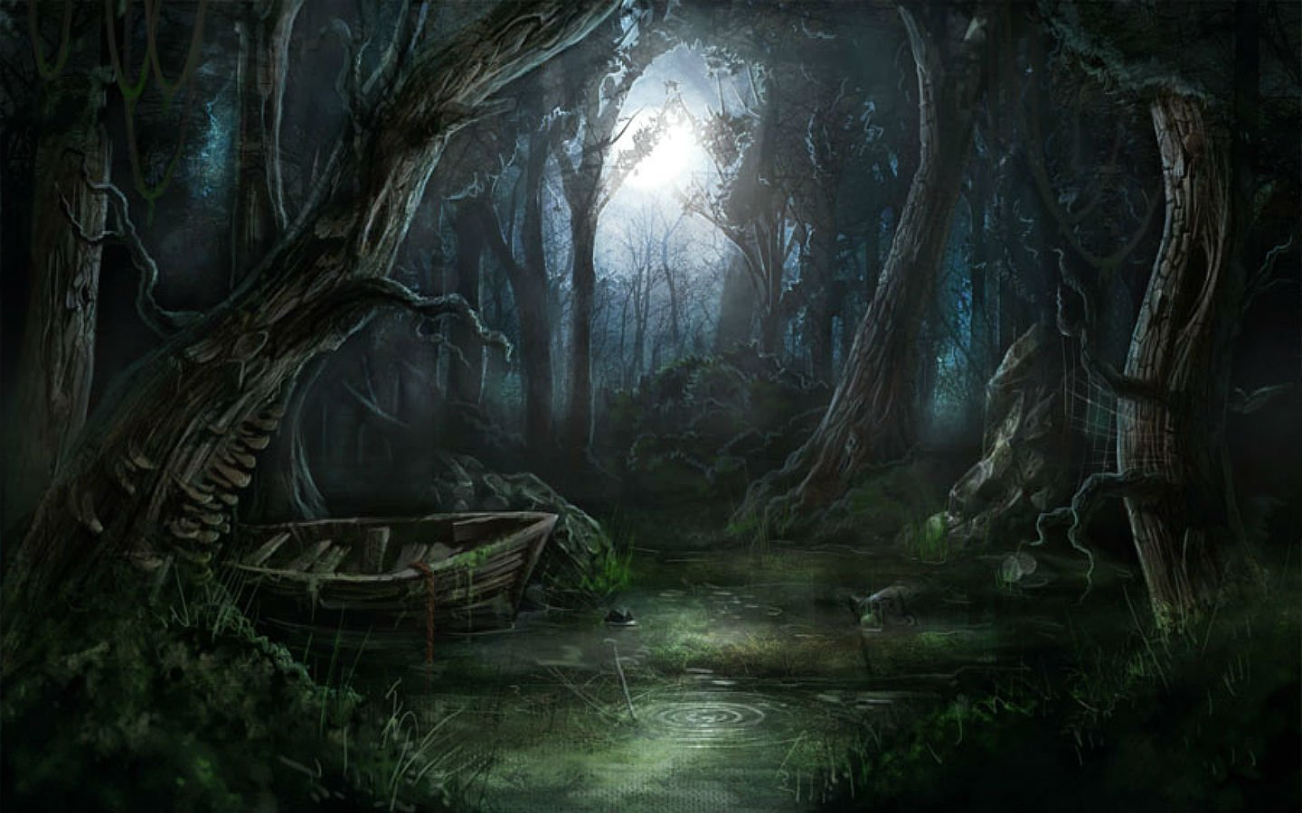 American Paint And Wallpaper Fall River Dark Fantasy Forest Moon