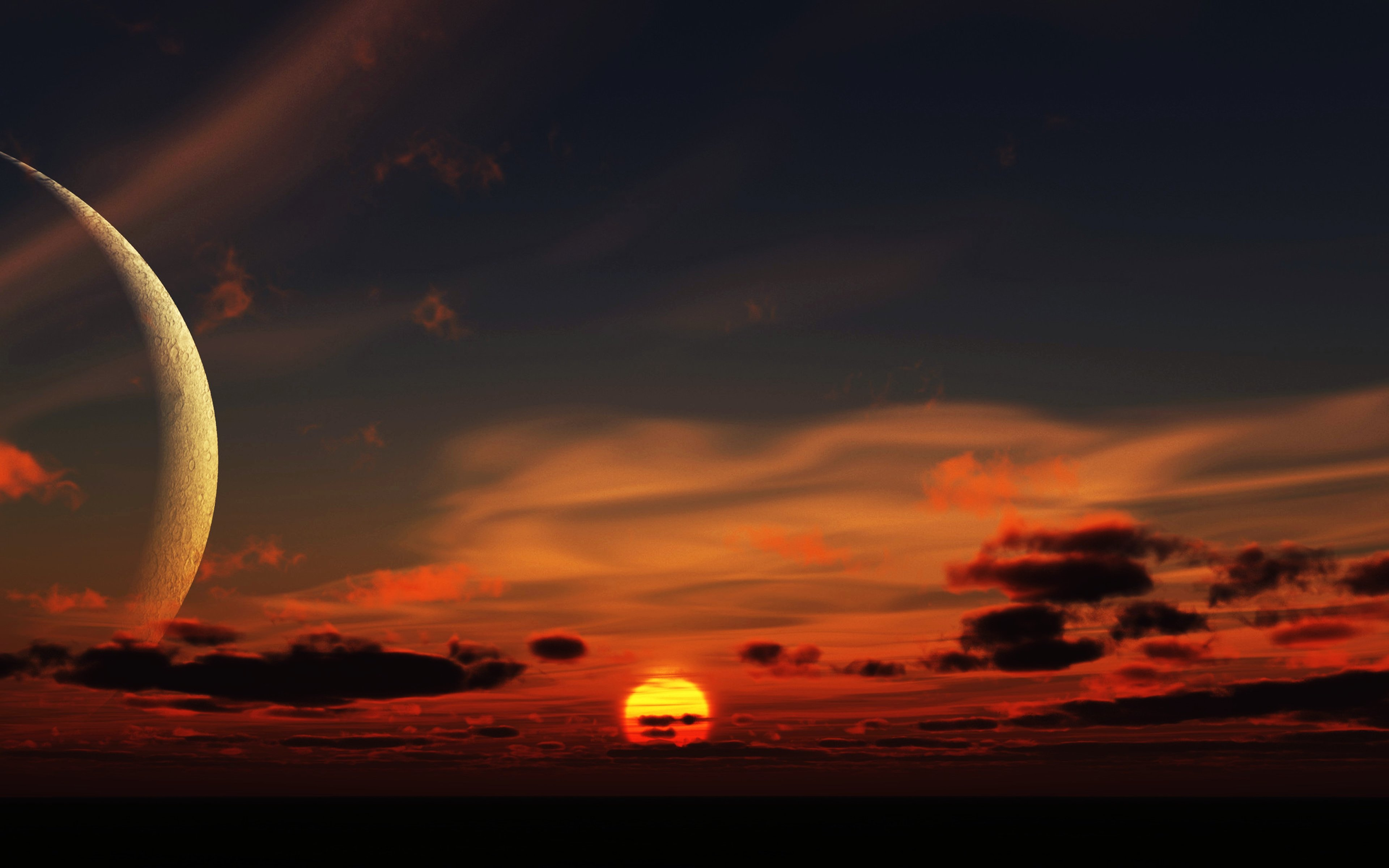 Serene Wallpapers Large Fall Fantasy Space Moon Sunset Sky Clouds Landscape Nature