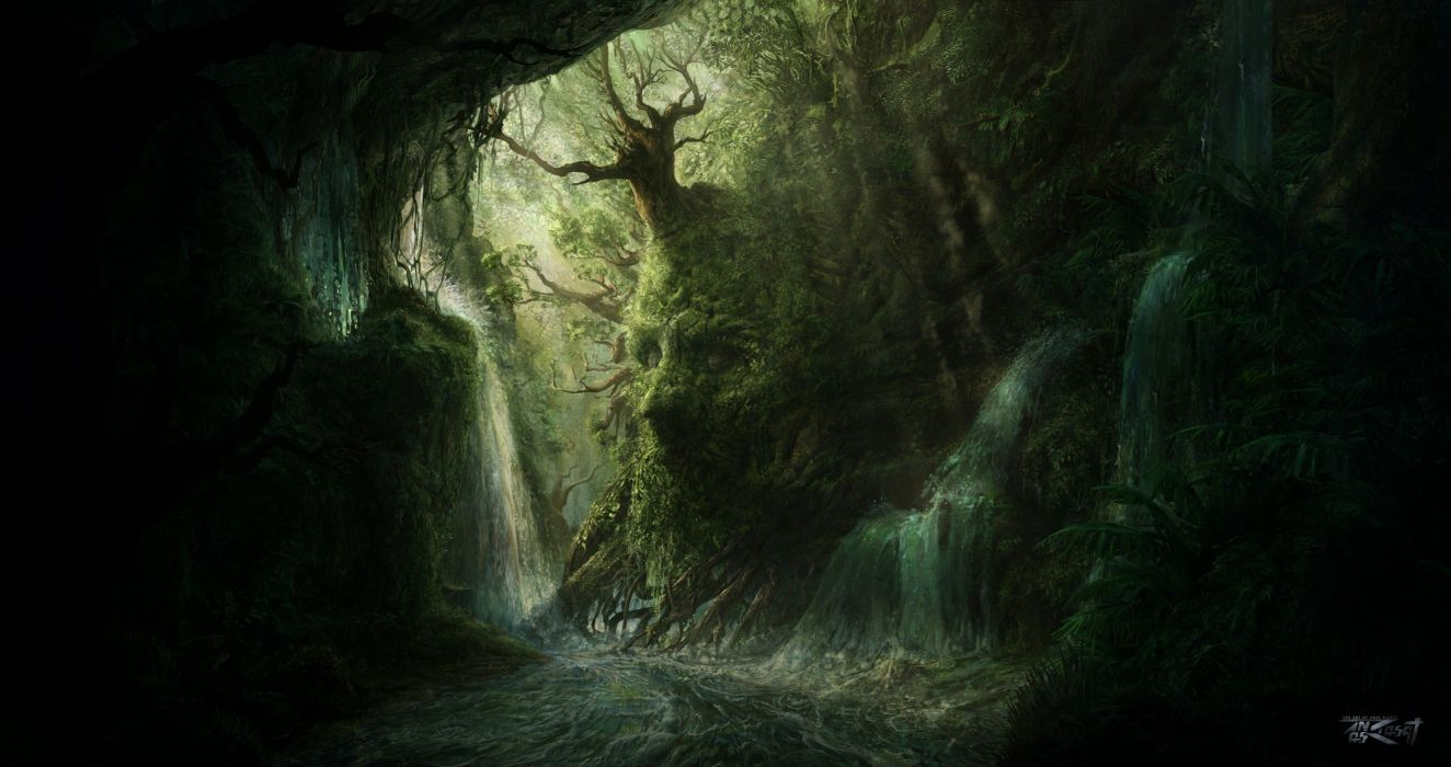 3d Live Wallpaper For Galaxy Y Artwork Fantasy Magical Art Forest Tree Landscape Nature