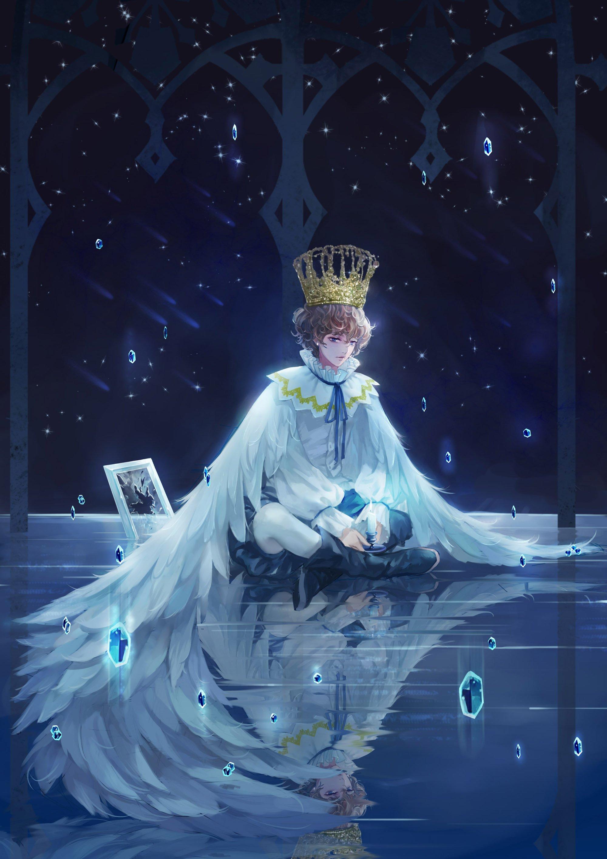 Sad Baby Girl Wallpaper Download Boy Wings Night Alone Anime Wallpaper 2000x2829 666205