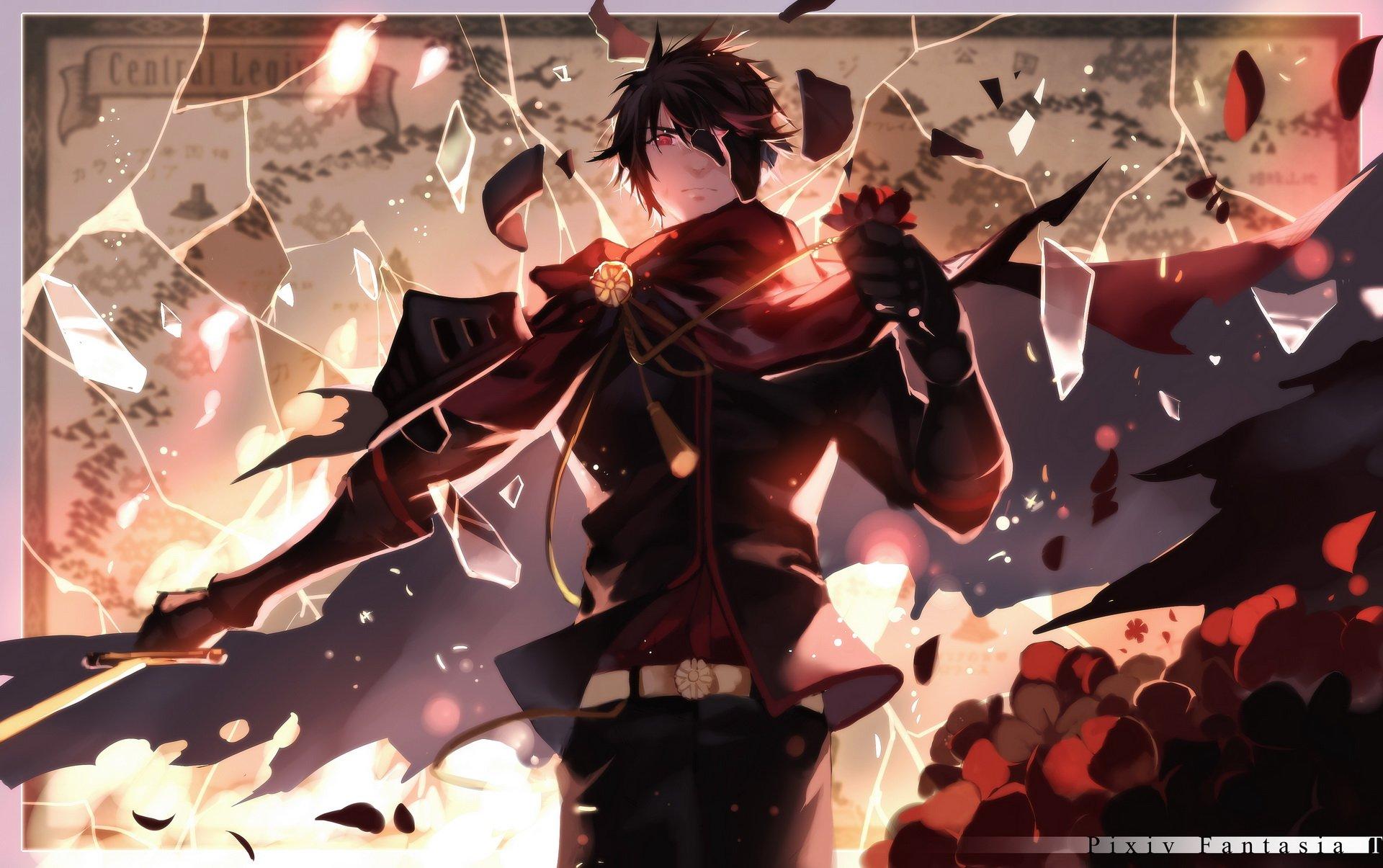 Anime Girl Wallpaper White Haired Demon Guy All Male Armor Black Hair Cape Joseph Lee Male Pixiv