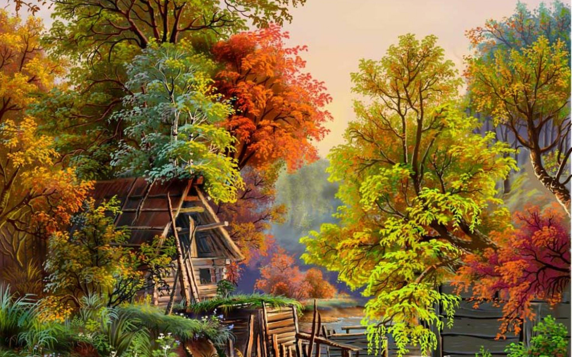 Fall Nature Scenes Wallpaper Pintura Arte Naturaleza Colores Wallpaper 1920x1200