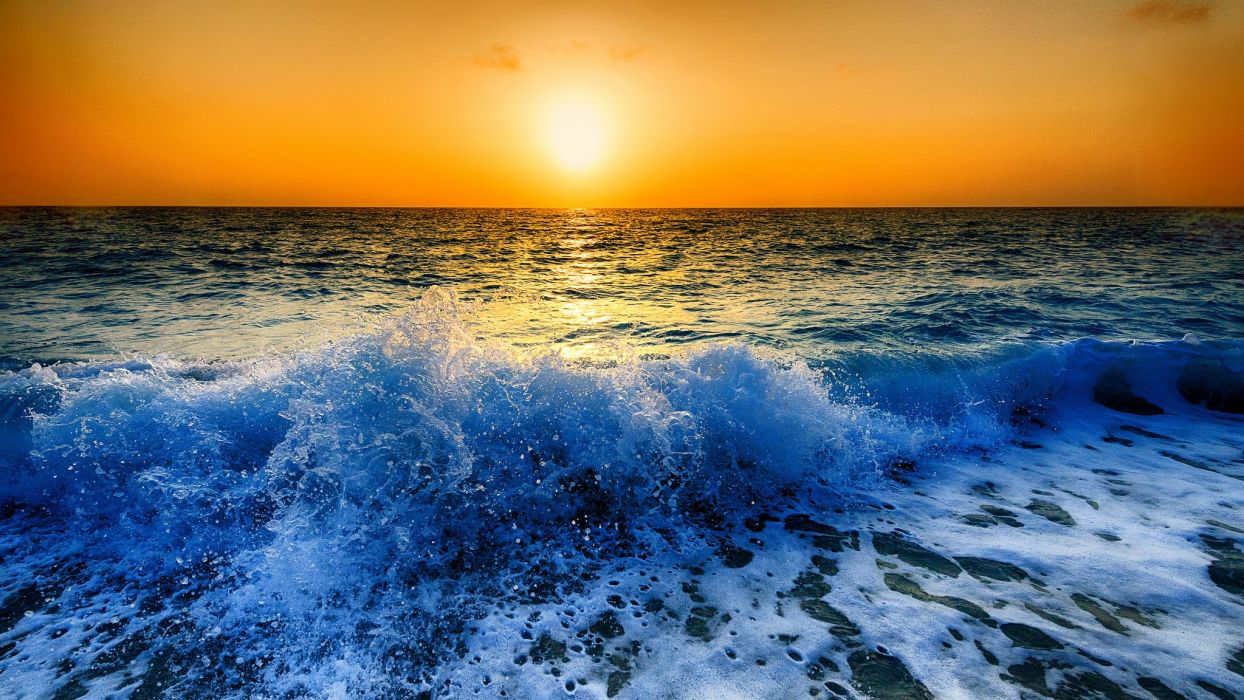 Hd Santorini Wallpaper Peloponnese Greece Ionian Sea Sea Waves Spray Foam Sunset