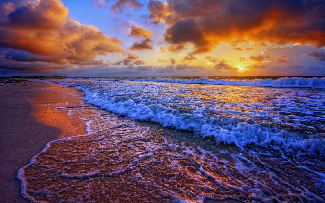 Wave Sand Cloud Sunset Nature Ocean Beach wallpaper 3840x2400