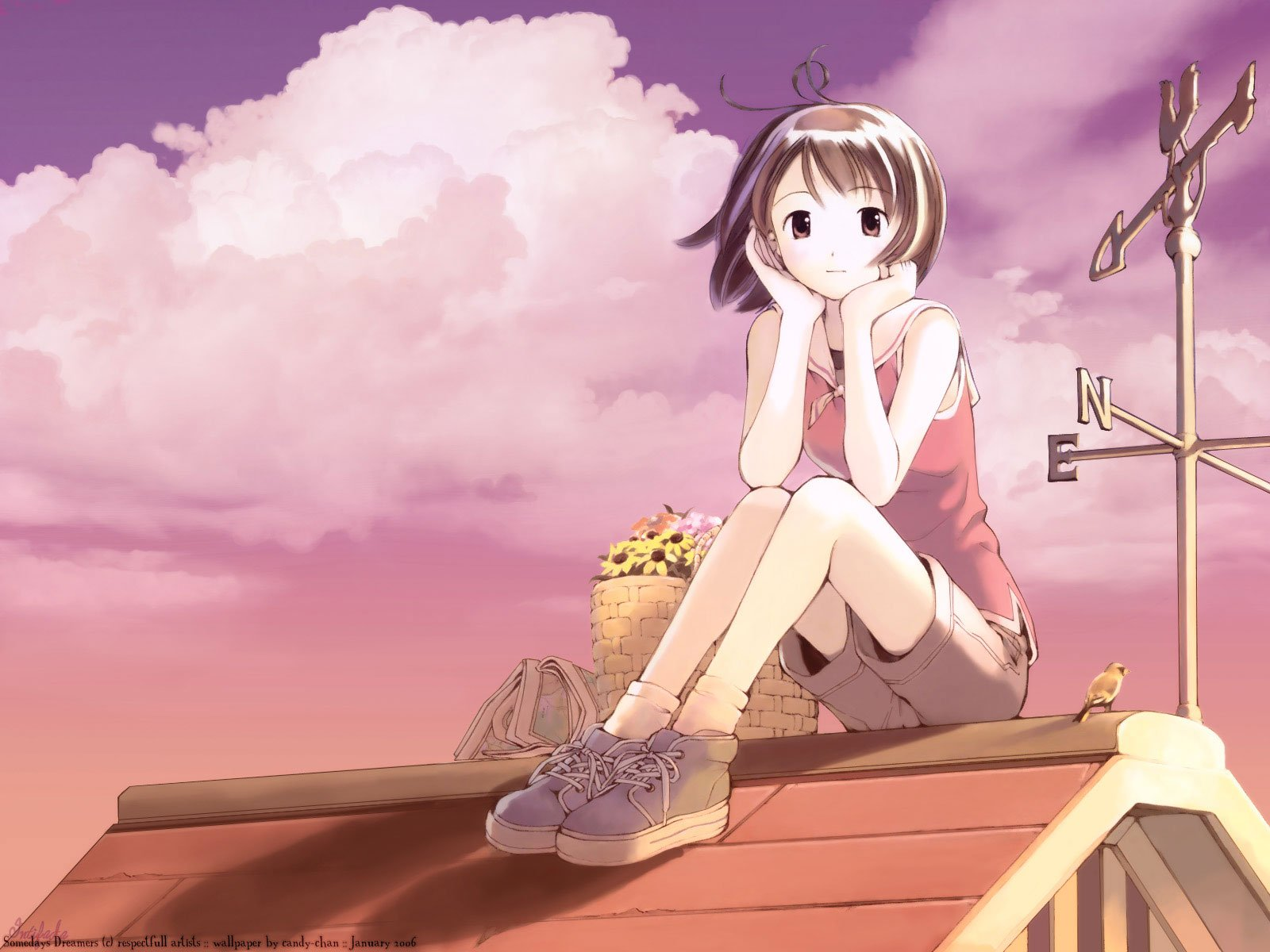 Cute Wallpapers Tumbkr Anime Girl Alone Cute Sky Clouds Wallpaper 1600x1200