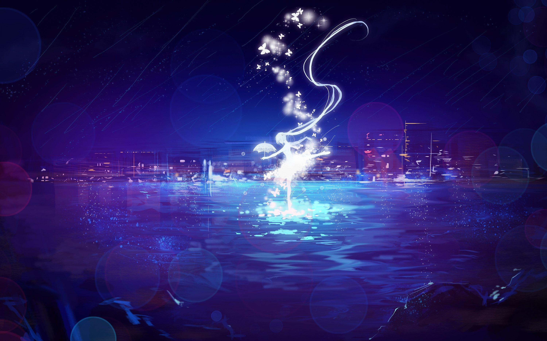 Anime Rain Wallpaper City Hatsune Miku Long Hair Miemia Night Rain Scenic