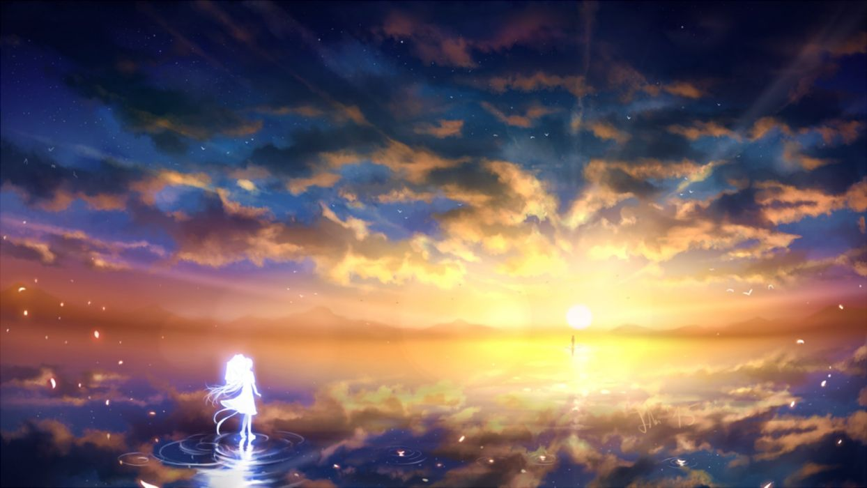Water Falling Live Wallpaper Download Anime Girl Sunset Sky Clouds Beauty Landscape Wallpaper