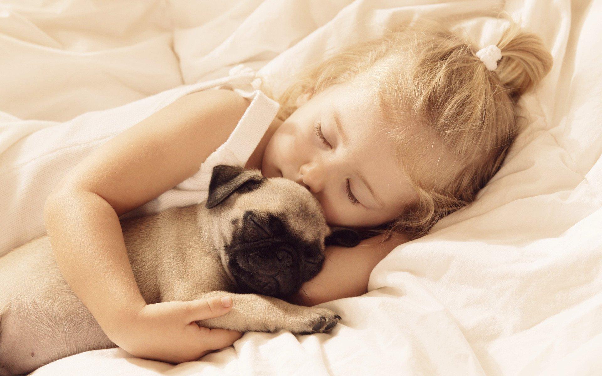 Baby Girl And Boy Wallpaper Baby Cute Girl Blonde Animal Dog Sleepy Angel Children