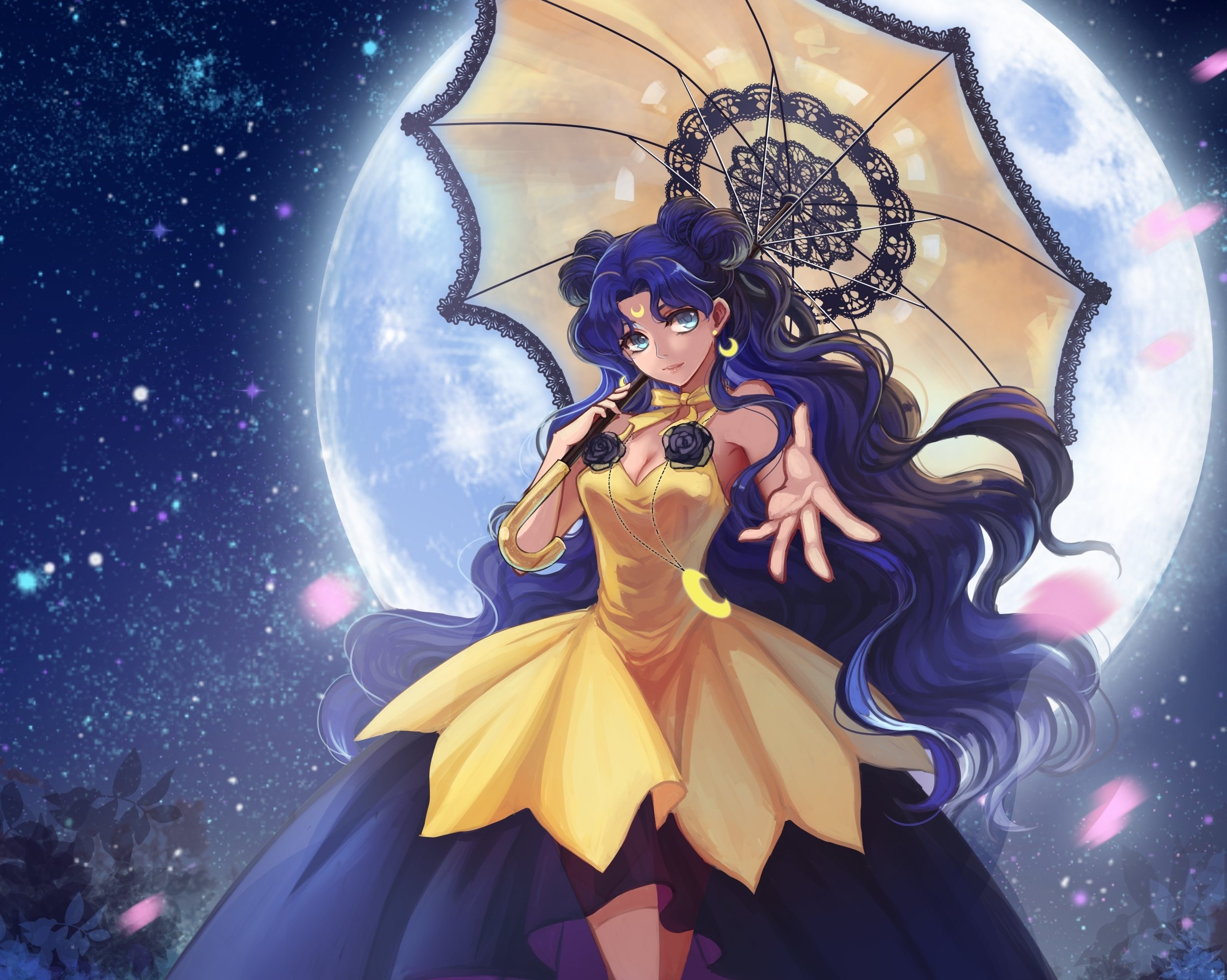 Cute Girl Wallpaper Com Sailor Moon Dress Sky Stars Umbrella Anime Series Girl