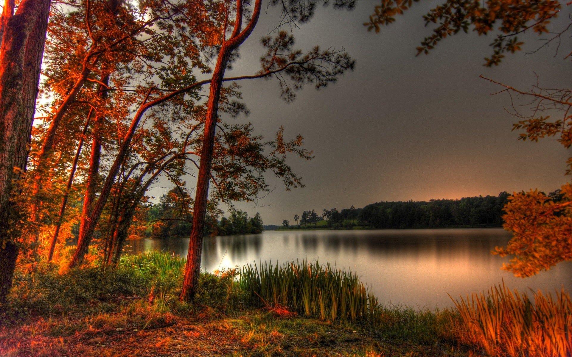 Full Screen Desktop Fall Leaves Wallpaper Nature Landscape Beauty Beautiful Sky Tree Lake Sunset
