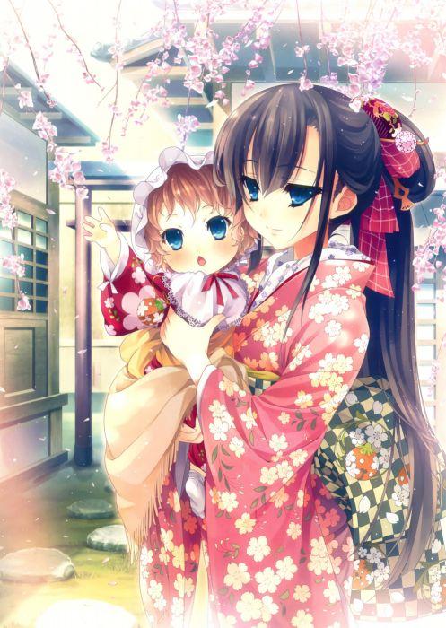 Blue Hair Anime Girl Wallpaper Original Anime Girl Kimono Cute Beautiful Dress Long Hair