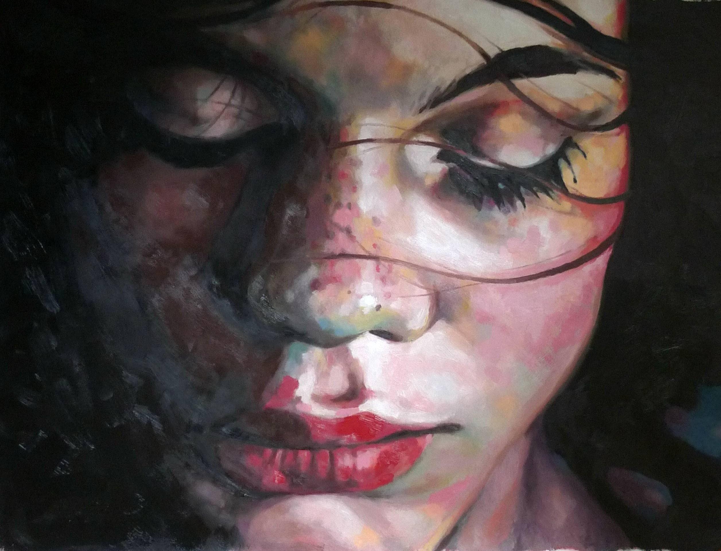 Wallpaper Of Sad Girl In Rain Art Artist Thomas Saliot Oil Painting Close Up Girl