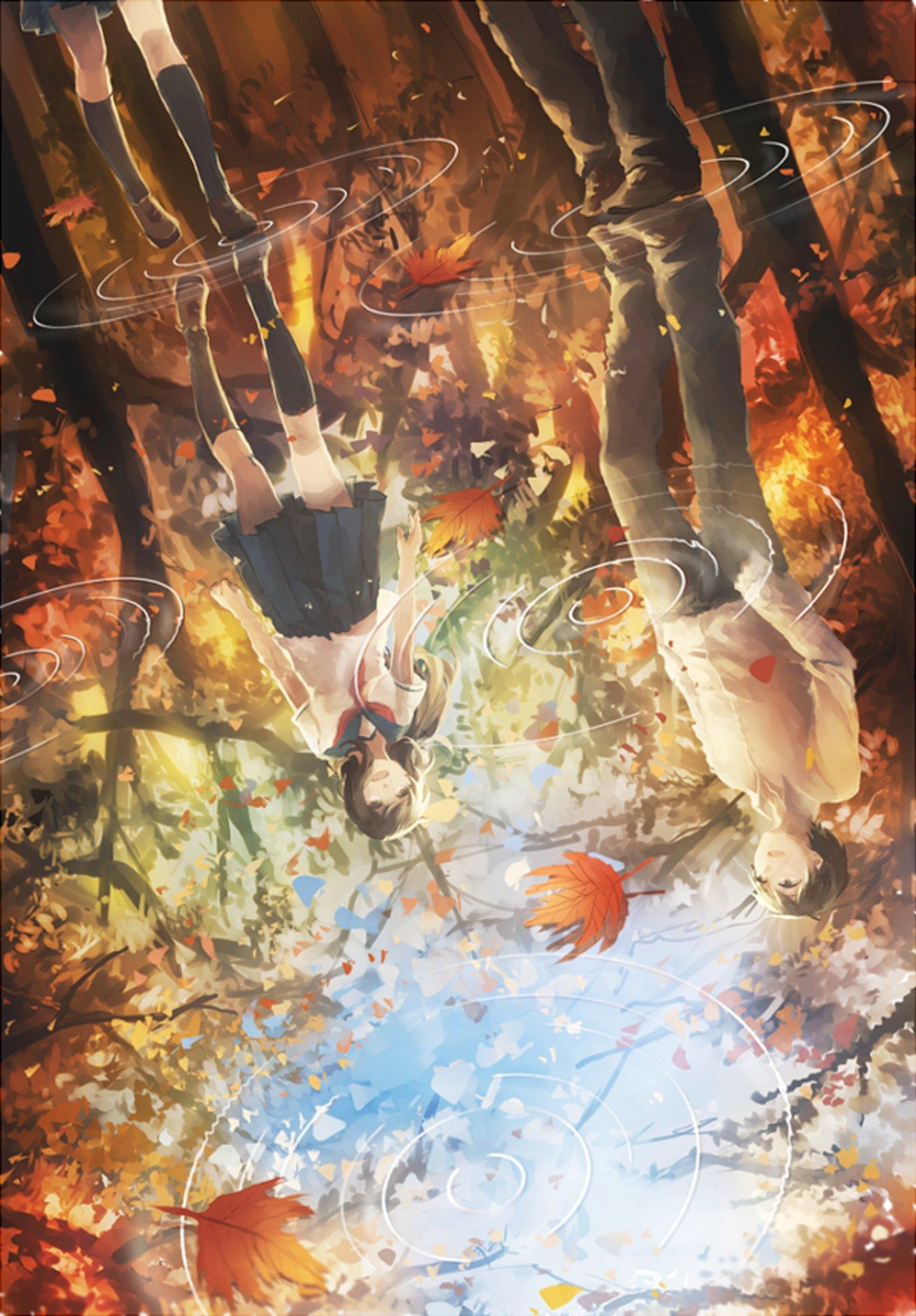 Anime Girl Thanksgiving Wallpaper Leaves Water Rain Couple Anime Girl Guy Autumn Wallpaper