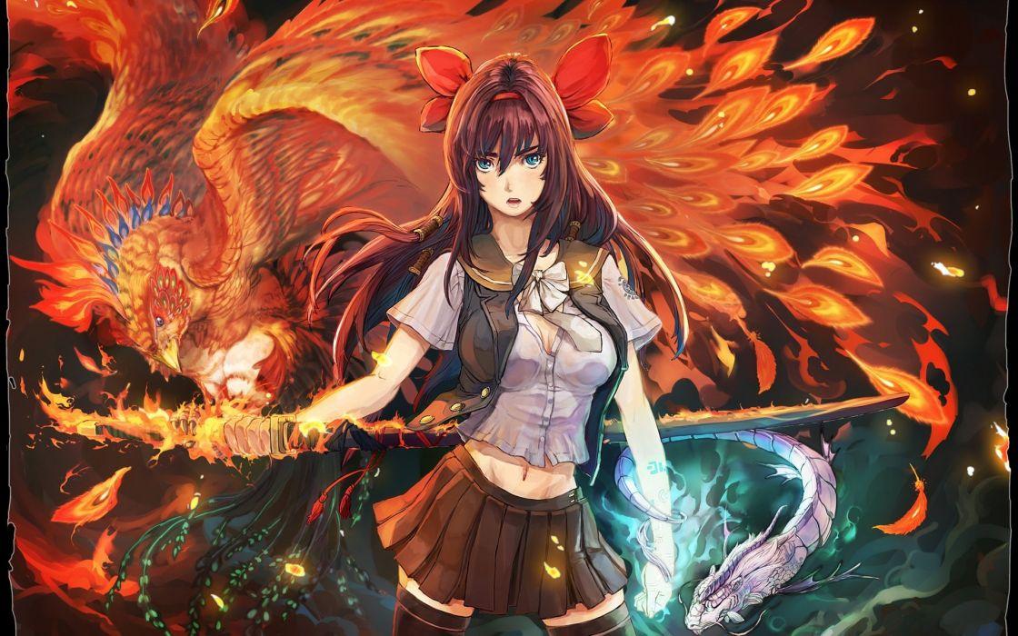Animal Wallpaper Download Anime Girl Fire Sword Animal Bird Phoenix Long Hair