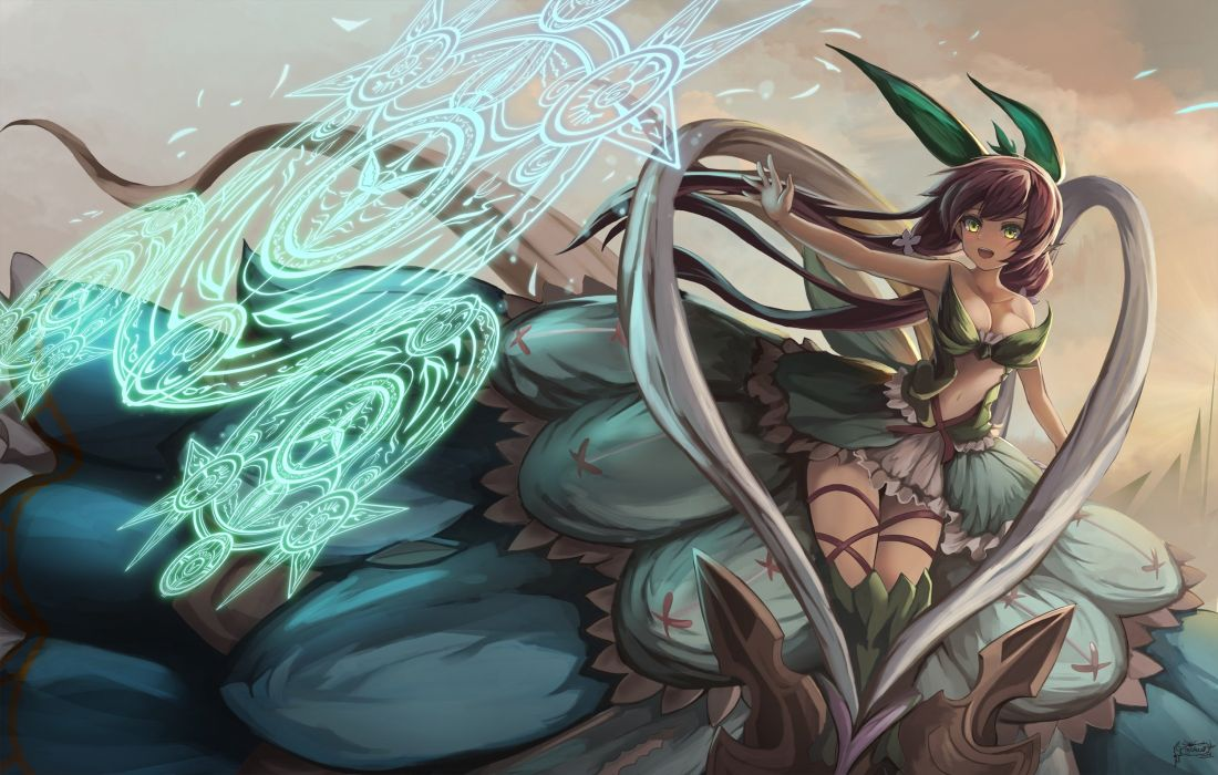 1920x1080 Fantasy Girl Wallpaper Breasts Cleavage Eruthika Granblue Fantasy Green Eyes Long