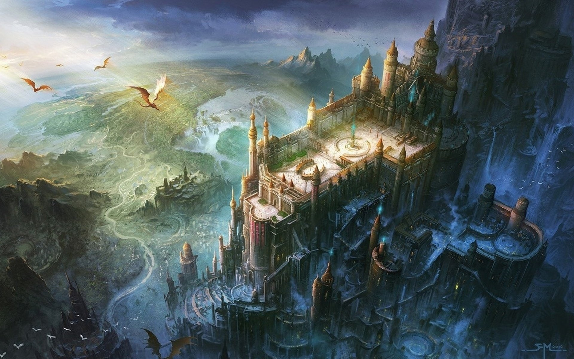 Abstract Anime Wallpaper Fortress Dragon Castle Artwork Wallpaper 1920x1200