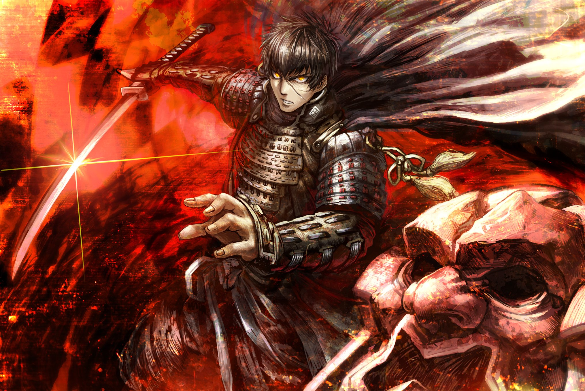 Cute Small Girl Wallpapers For Facebook Anime All Male Anthropomorphism Armor Black Hair Cape
