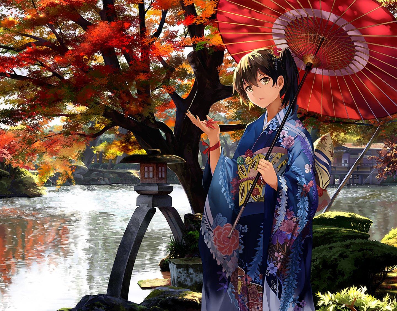 Facebook Wallpaper Girl Anime Girl Anthropomorphism Autumn Brown Hair Kimono Short