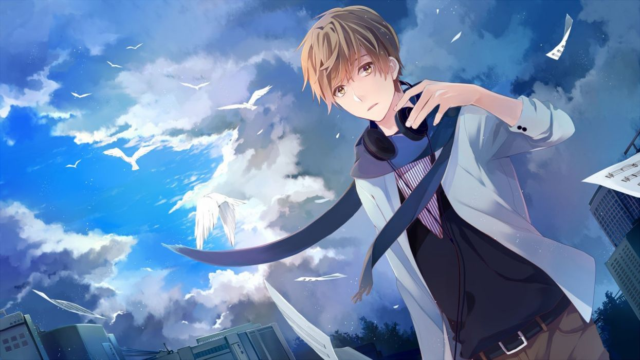 Stylish Girl With Guitar Wallpapers Anime Male Animal Bird Blue Building Clouds Headphones