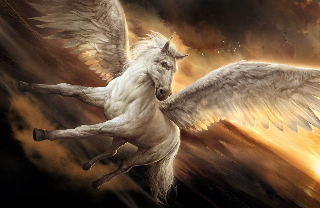 Cute Cartoon Unicorn Wallpapers Fantasy Pegasus Wings Beauty Horse Beautiful Wallpaper