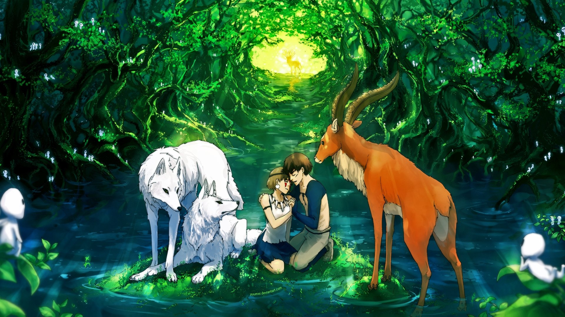 Girl Reading Book Wallpapers Anime Girl Character Beautiful Animal Forest Deer Couple