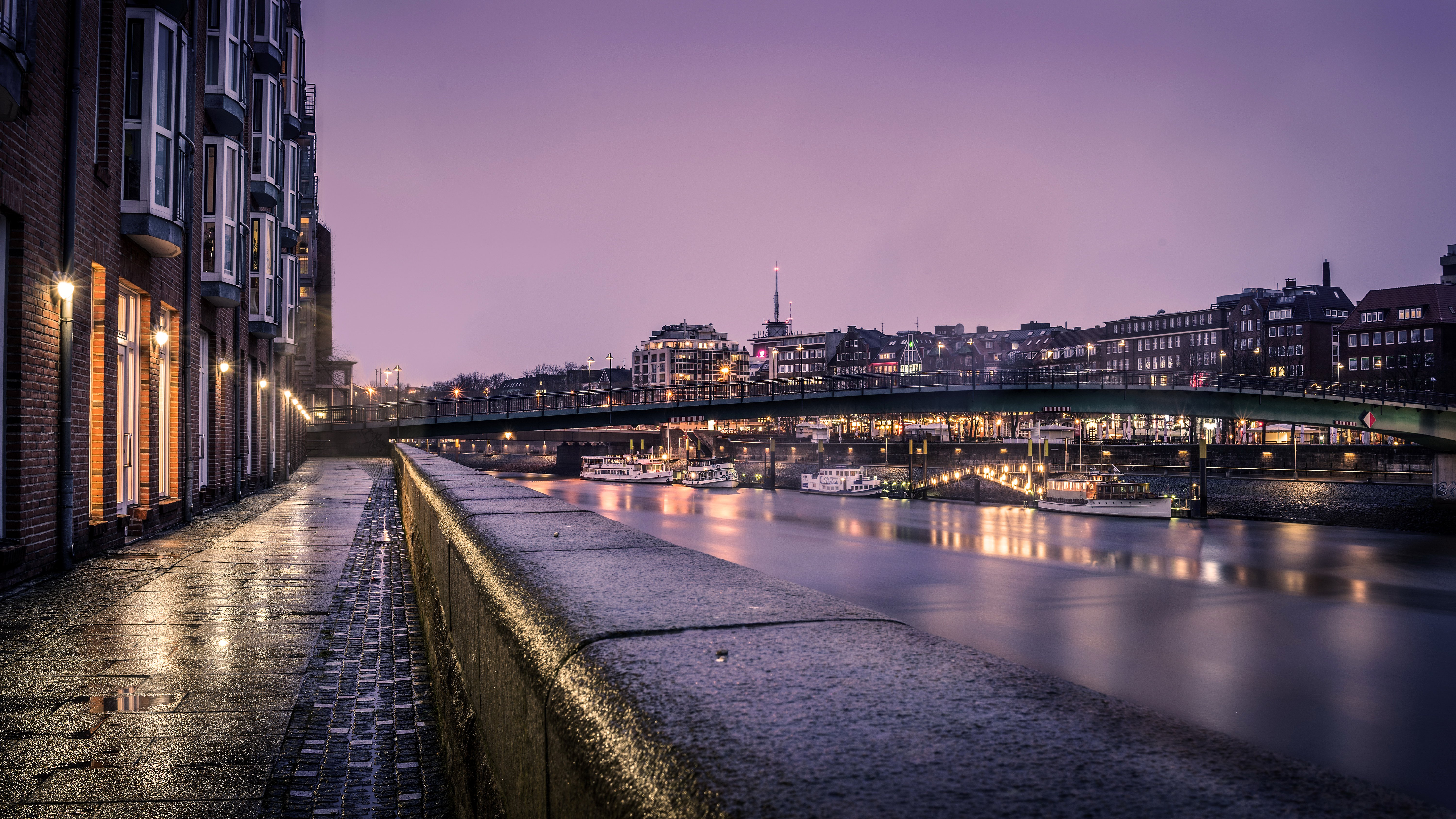 3d Wallpapers In Hd Download Germany Houses Rivers Bridges Ships Night Street Lights