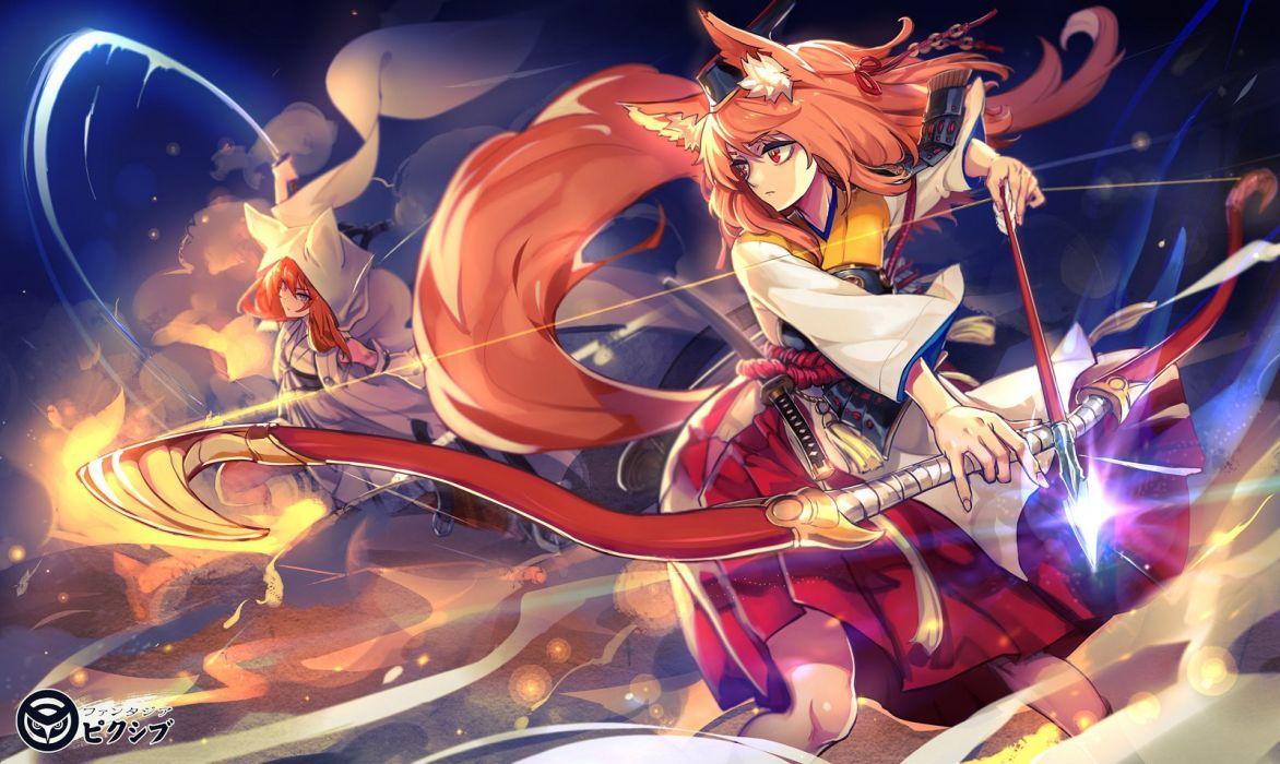 Anime Girl Wallpaper Hd Pink Hair Neko Girls Animal Ears Armor Bow Weapon Foxgirl Hoodie Katana