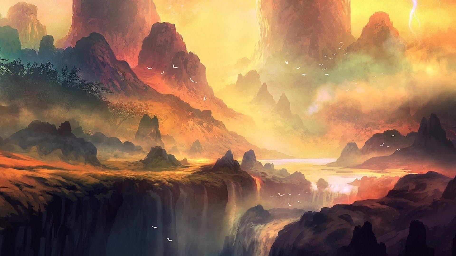 Mrsuicidesheep Wallpaper Fall Artwork Landscape Mountains Waterfall Sunlight Fantasy Art