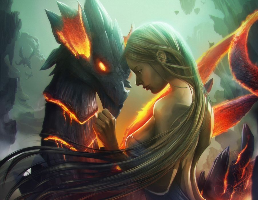 Skyrim Iphone X Wallpaper Art Artwork Blond Hair Blonde Dragon Fantasy Fire Girl
