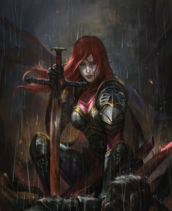 Arabic Girl Wallpaper Fantasy Red Hair Woman Girl Warrior Sword Rain Wallpaper