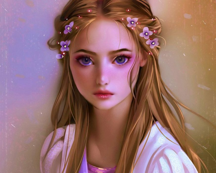Cute Cartoon Face Wallpapers Fantasy Girl Rapunzel Blonde Cute Flower Hair Wallpaper