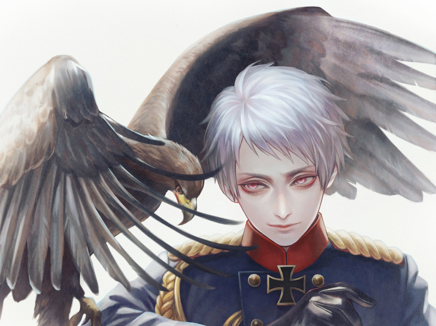Red Anime Wallpaper Anime Anime Guy Prussia Eagle Bird Animal Red Eyes White