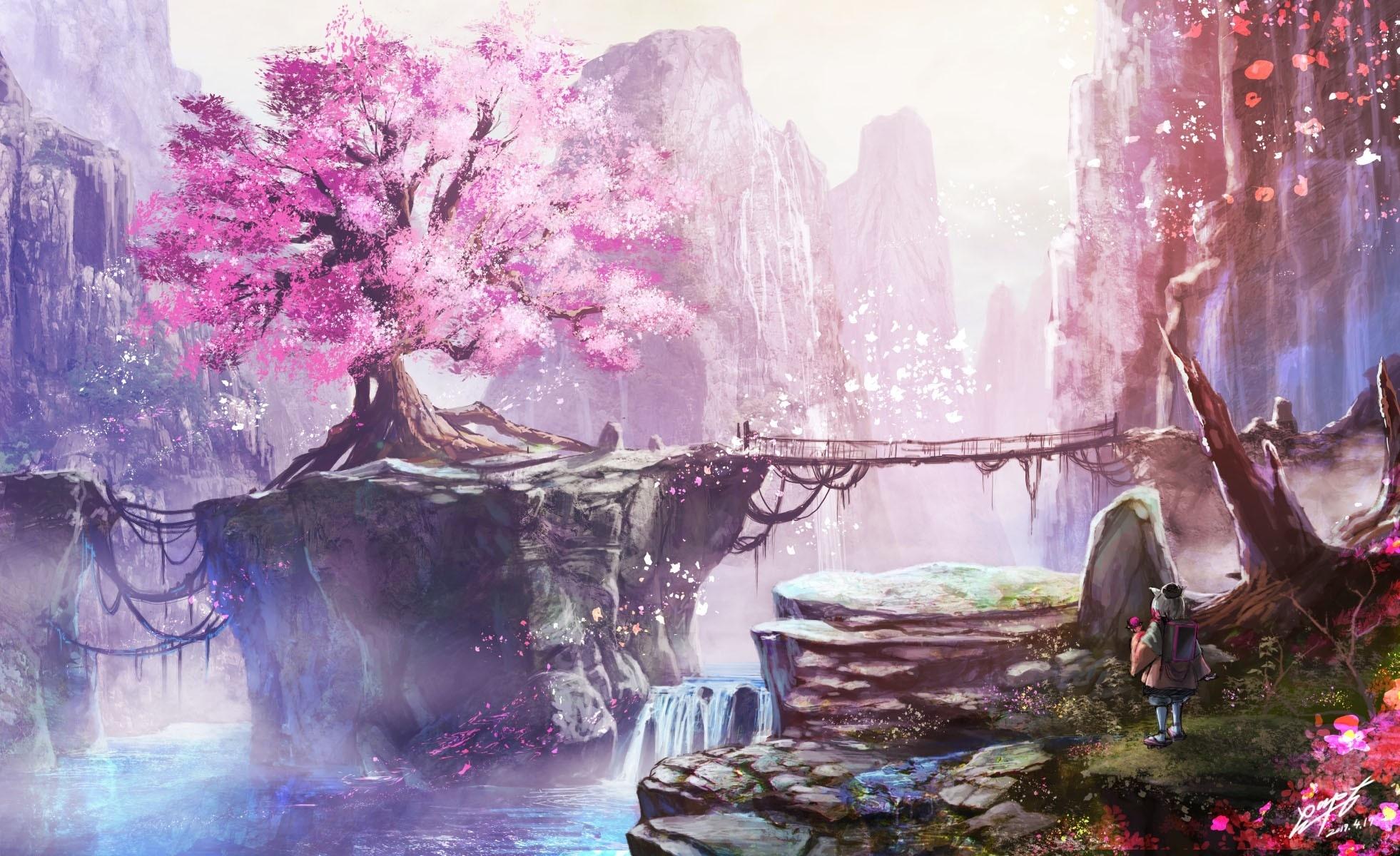 Nature Girl Wallpaper Anime Landscape Cherry Blossom Bridge Waterfall Anime Girl