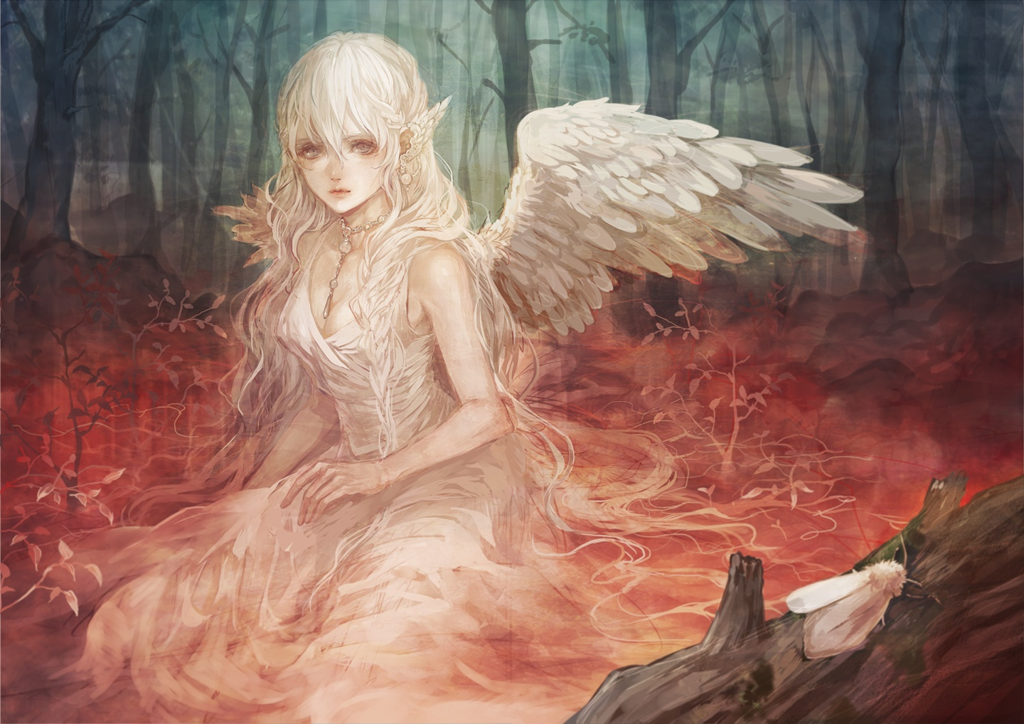 Beautiful Anime Girl Fantasy Forest Wallpaper Angels Sad Girls Beautiful Forest Insects Nature Fantasy