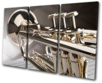 Musical Trumpet Instruments Treble Canvas Wall Art Picture ...