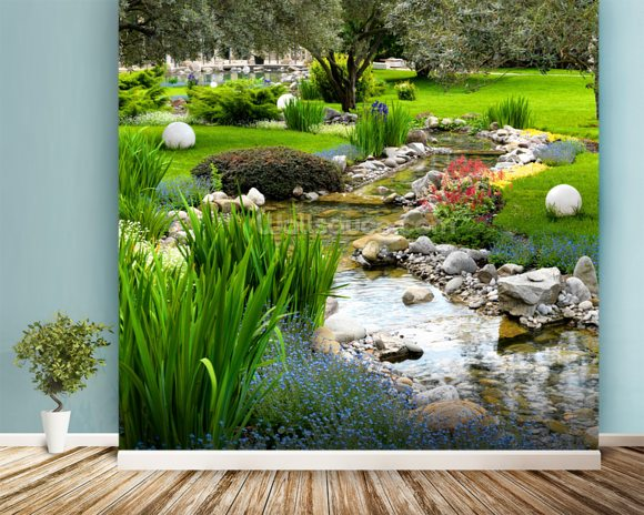 3d Wallpaper Murals Uk Asian Garden And Pond Wallpaper Wall Mural Wallsauce