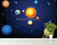 Colourful Solar System Wallpaper Wall Mural | Wallsauce UK