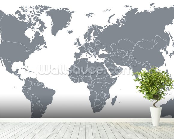 Grey World Map Wallpaper Wall Mural Wallsauce Europe - Black And Grey World Map