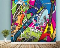 Colourful Music Wallpaper Wall Mural | Wallsauce UK