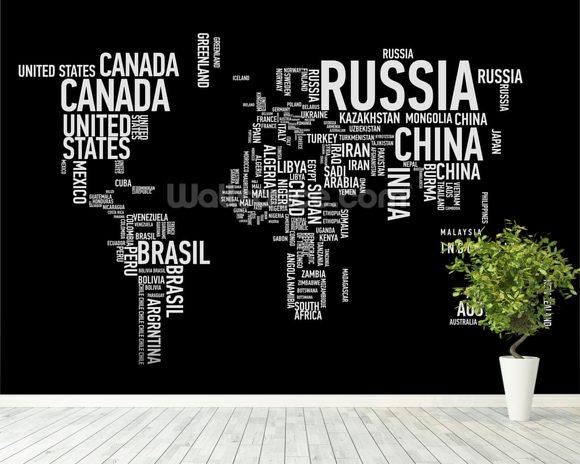 Word Cloud World Map Wallpaper Wall Mural Wallsauce New Zealand