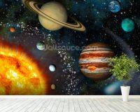 3D Solar System Wallpaper Wall Mural | Wallsauce UK