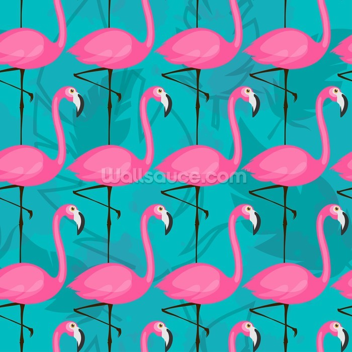Love Wallpapers Iphone X Bright Pink Flamingos Wallpaper Wall Mural Wallsauce