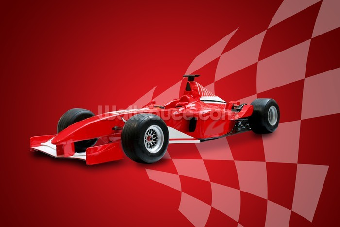 Childrens Car Wallpaper Red Formula One Car And Racing Flag Wallsauce Us