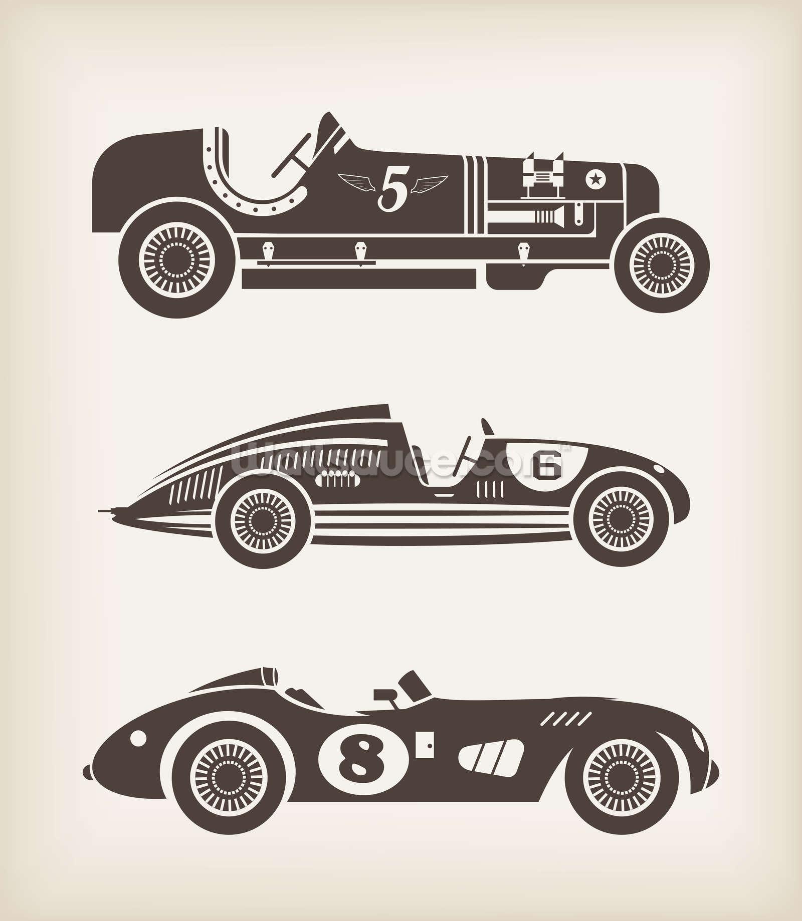 Formula 1 One Race Car Wallpaper Bright Vintage Racing Wallpaper Wall Mural Wallsauce Usa
