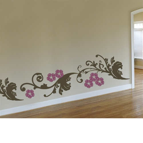 Animal Bedroom Wallpaper Curly Floral Bottom Border Wall Decal Sticker