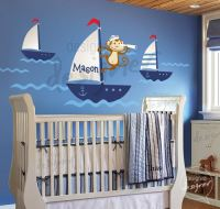 Sailor Monkey on a Boat Wall Sticker