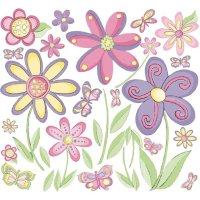 Butterflies Flowers Peel and Stick Wall Stickers
