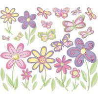 Small Butterflies Flowers Peel Stick Wall Stickers